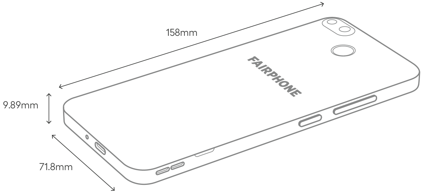 line illustration of the Fairphone 3